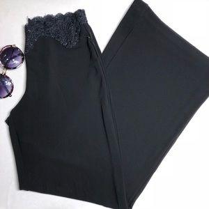 Bebe Black Lace High Waist Flare Stretchy Pants